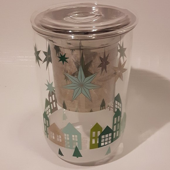 Davids Tea Nordic Mug Glass with Homes and MCM